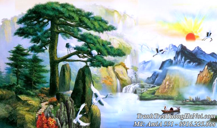Hình ảnh tranh AmiA 531 có cây tùng bách sông núi mặt trời thuộc tranh sơn thủy hữu tình
