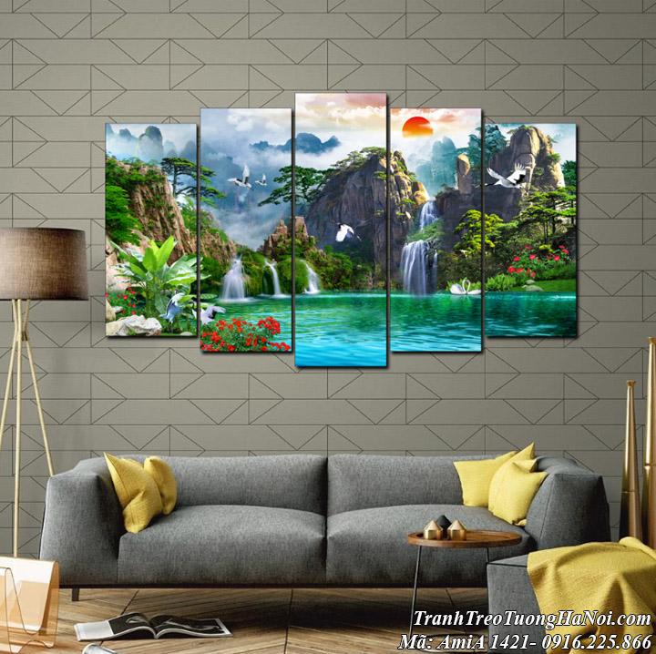 AmiA 1421 bộ tranh sơn thủy hồ uyên ương ghép 5 tấm