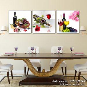 AmiA 1541 tranh rượu vang treo tường phòng ăn hiện đại