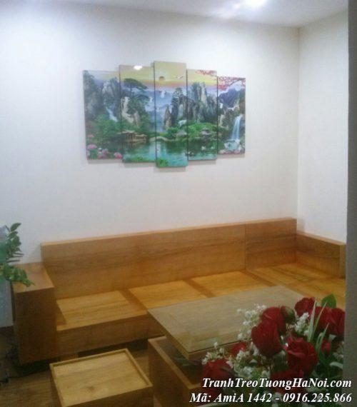 Tranh treo tường amia 1442 phong cảnh sơn thủy treo trên ghế sofa gỗ