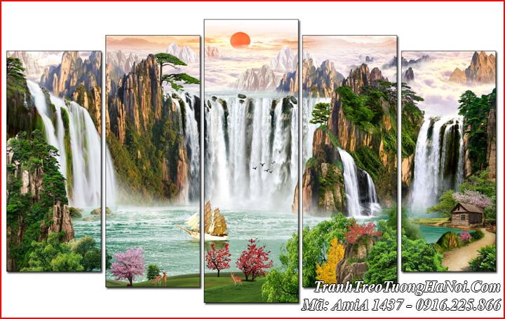 Tranh AmiA 1437 phong cảnh sơn thủy hữu tình Trung Quốc đẹp ý nghĩa