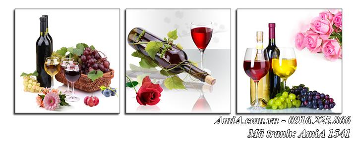 AmiA 1541 tranh rượu vang 3 tấm treo phòng ăn