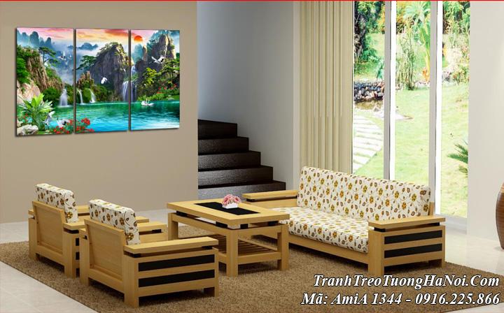 Tranh AmiA 1344 sơn thủy hữu tình treo tường phòng khách đẹp