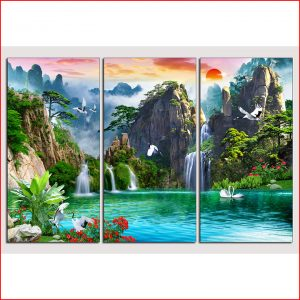 Tranh sơn thủy hồ uyên ương 3 tấm Amia 1344