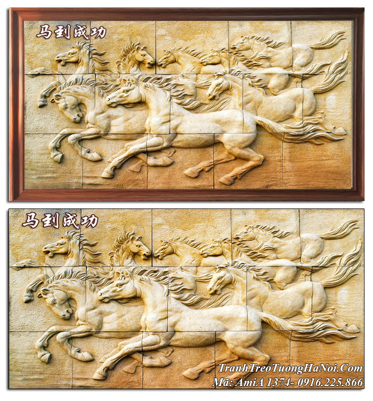 Tranh mã đáo thành công giả ốp gỗ hiện đại AmiA 1374