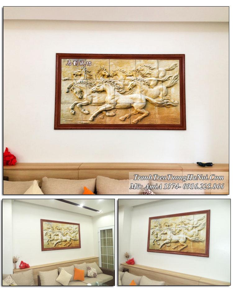 Tranh gỗ thực tế AmiA 1374 treo tường mã đáo thành công