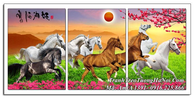 Tranh mã đáo Amia 1391 ghép 3 tấm ngựa phi trên đồng cỏ
