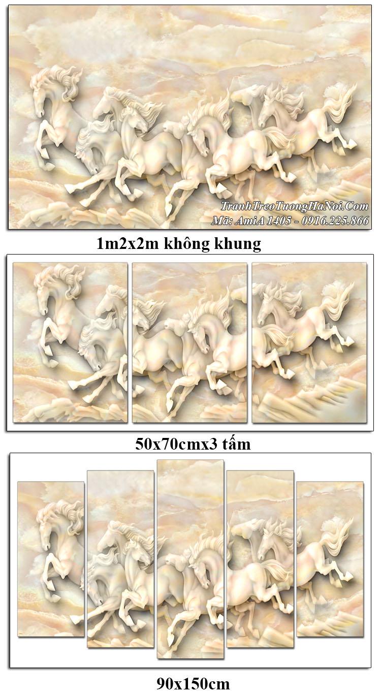 Tranh treo tường ngựa 3D AmiA 1405 giả đá