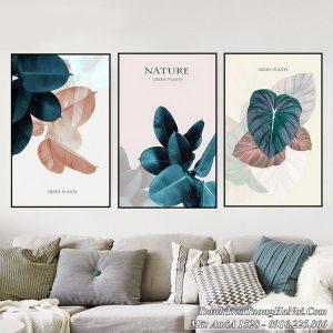 Tranh lá cây màu xanh AmiA 1528 treo tường ghép bộ