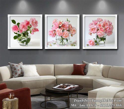 Tranh bình hoa hồng treo tường phòng khách AmiA 1570