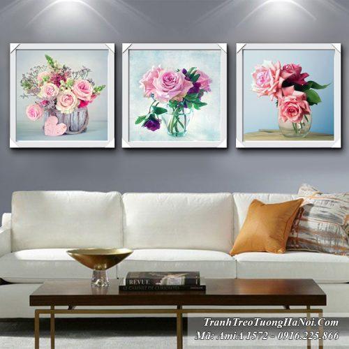 Tranh treo tường Amia 1572 bình hoa hồng trang trí phòng khách