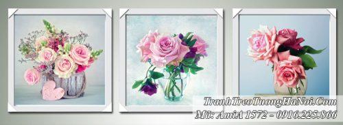 Tranh AmiA 1572 bộ 3 bình hoa hồng hiện đại