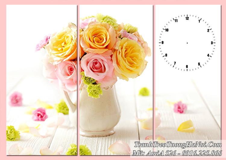Tranh bình hoa hồng AmiA 526 đồng hồ treo tường