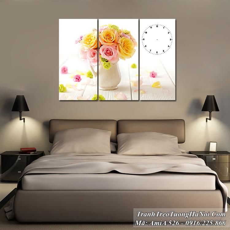 Tranh treo phòng ngủ đẹp AmiA 526 bình hoa hồng