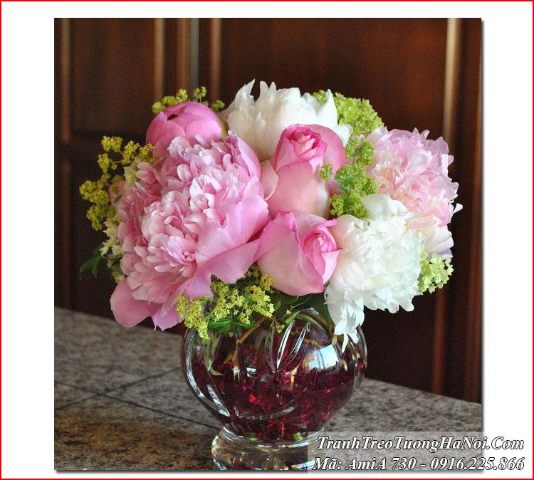 Tranh treo tường AmiA 730 bình hoa hồng mẫu đơn
