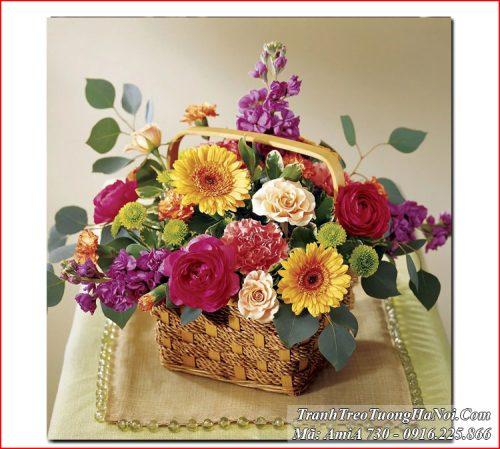Tranh AmiA 730 giỏ hoa 4 mùa treo tường hiện đại