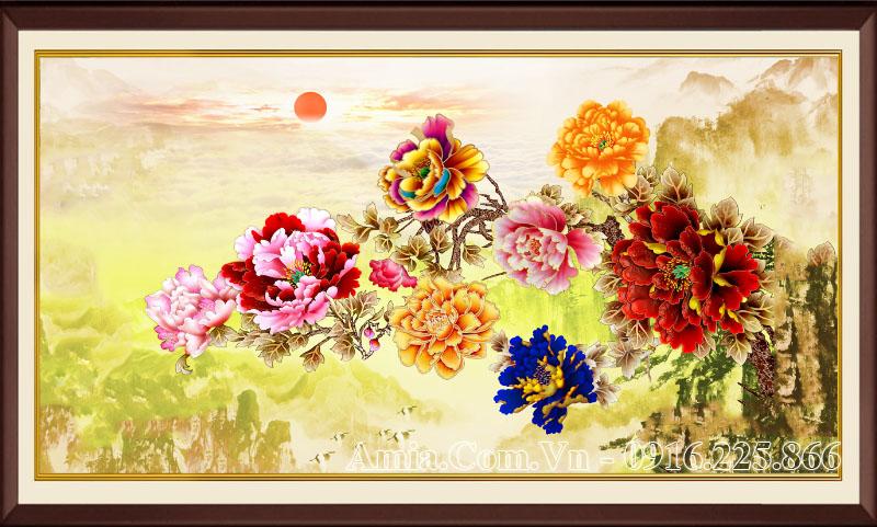Tranh AmiA 1597 treo tường đẹp 9 bông hoa mẫu đơn