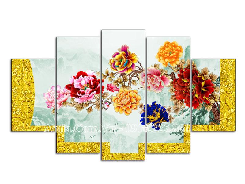 Tranh treo tường đẹp ý nghĩa Amia 1599 hoa mẫu đơn