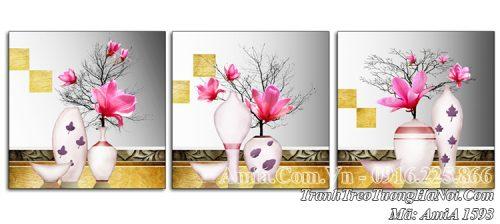 Tranh treo tường Amia 1593 bình hoa mộc lan hồng