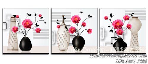 Tranh bình hoa hồng AmiA 1594 treo tường 3 tấm hiện đại