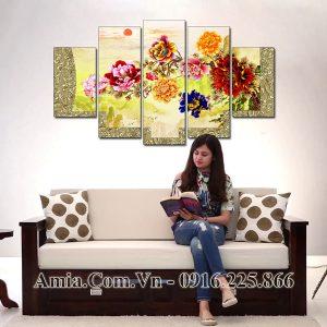 Tranh treo tường 5 tấm hiện đại amiA 1597 hoa mẫu đơn