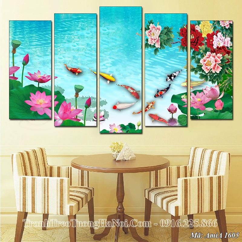 Tranh AmiA 1605 treo tường phòng ăn cá chép hoa sen
