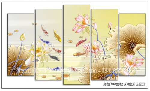 Tranh treo tường 3D cá chép hoa Sen AmiA 1602