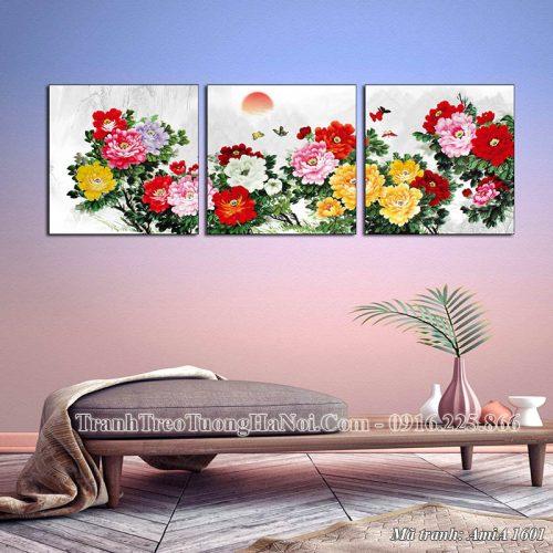 Tranh treo tường phòng khách AmiA 1601 hoa mẫu đơn