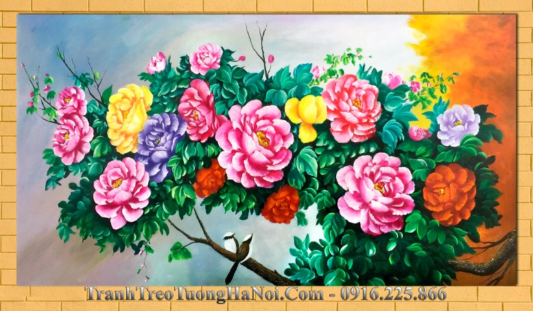Tran hson dau amia 332 treo tuong canh hoa mau don