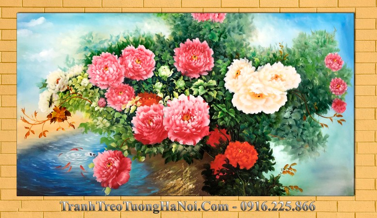 Tranh son dau amia 453 khom hoa mau don ben ho ca