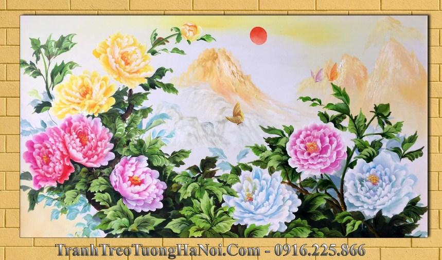 Tranh son dau amia 499 hoa mau don tren nui