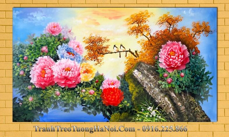 Tranh son dau dep amia 444 hoa mau don va doi chim