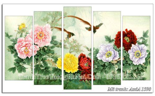 Tranh hoa mẫu đơn và đôi chim én AmiA 1590 treo tường