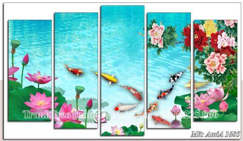 Tranh ghép 5 tấm AmiA 1605 treo tường hoa sen cá chép mẫu đơn