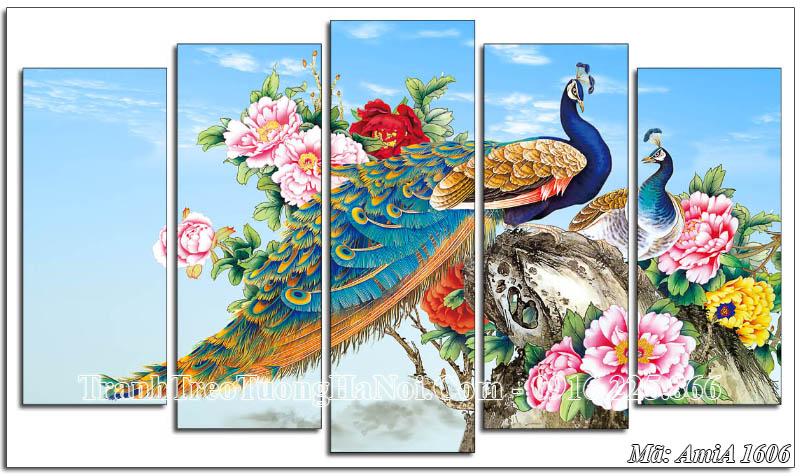 Tranh chim công hoa mẫu đơn AmiA 1606