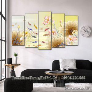 Tranh cá chép hoa sen treo tường phòng khách Amia 1602
