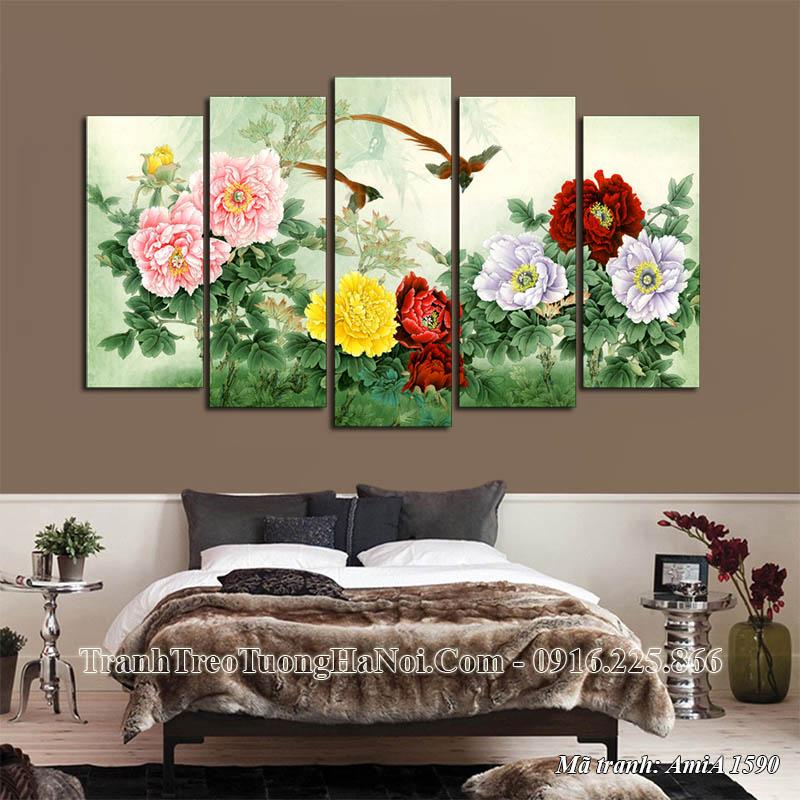 Tranh hoa mẫu đơn treo tường phòng ngủ Amia 1590