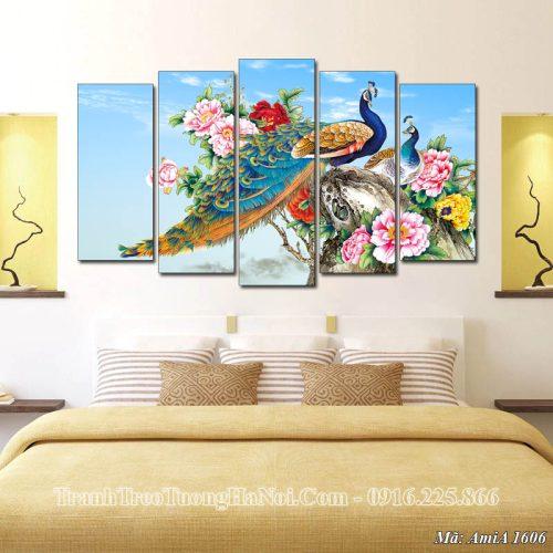 Tranh treo tường chim công hoa mẫu đơn Amia 1606
