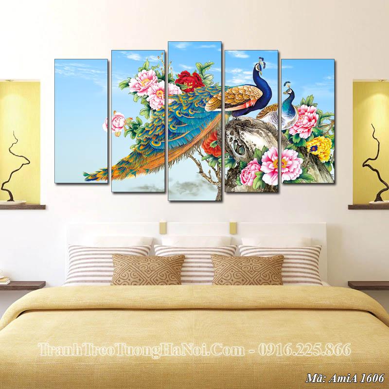 Tranh treo ở phòng ngủ chim công hoa mẫu đơn AmiA 1606