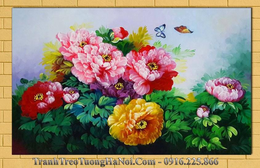 Tranh ve hoa mau don 9 bong amia tsd 156