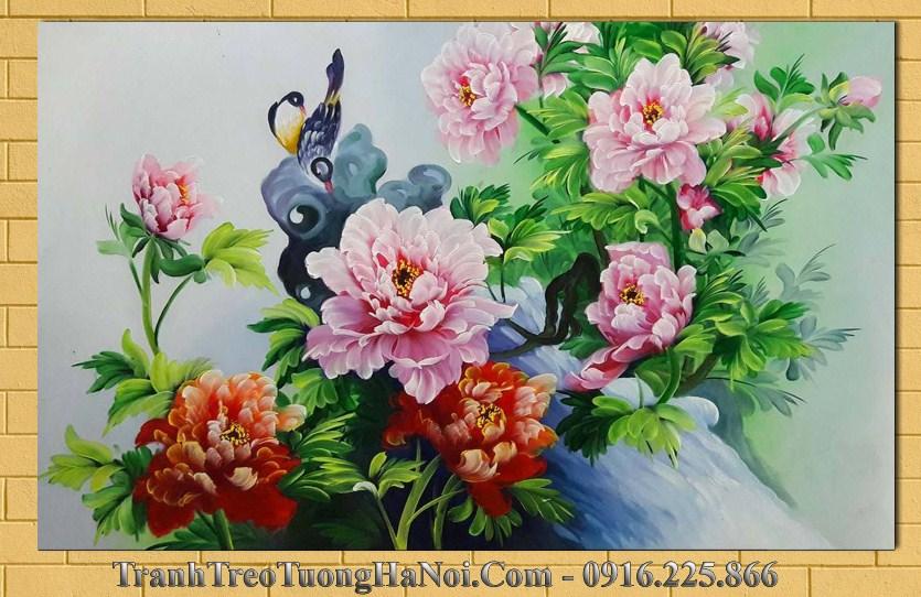 Tranh ve hoa mau don va doi chim en amia tsd 159