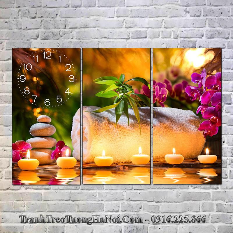 Tranh đẹp treo tường spa hoa nến đá