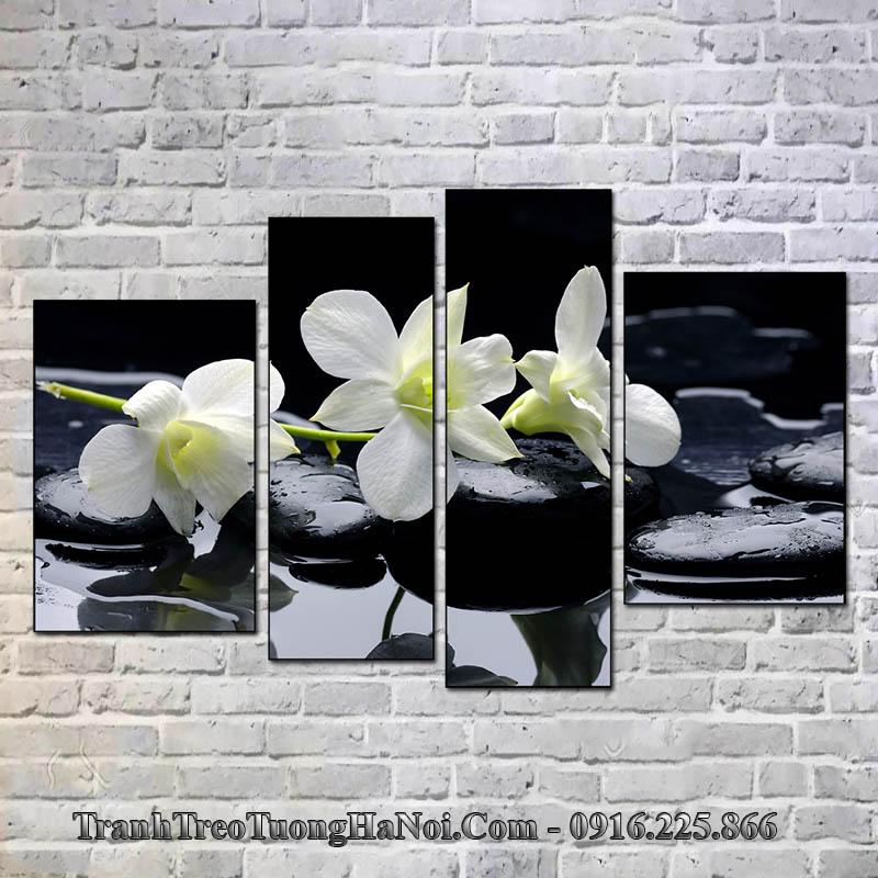 Tranh amia 366 hoa lan đá treo tường spa