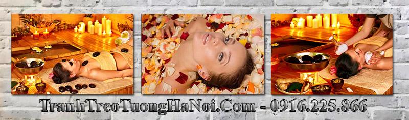 Hình ảnh bộ 3 tranh cô gái đẹp treo spa