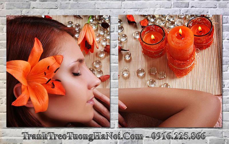 Tranh spa cô gái đẹp nến cam