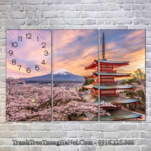 Tranh đồng hồ núi phú sỹ nhật bản và chùa chureito
