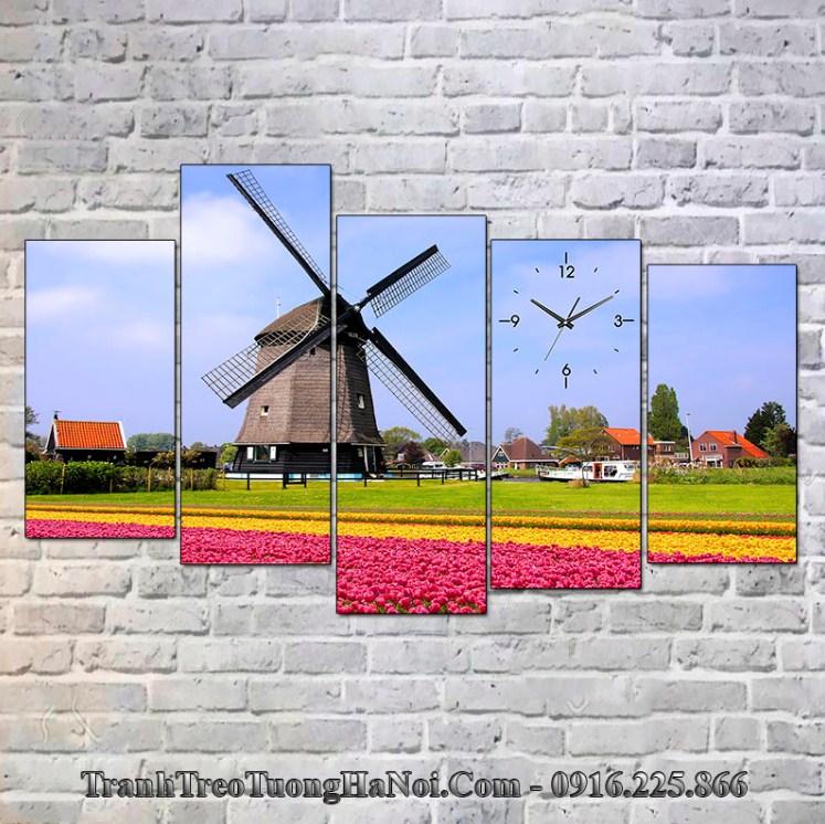 Tranh treo tường phong cảnh châu âu đồng hoa tulip