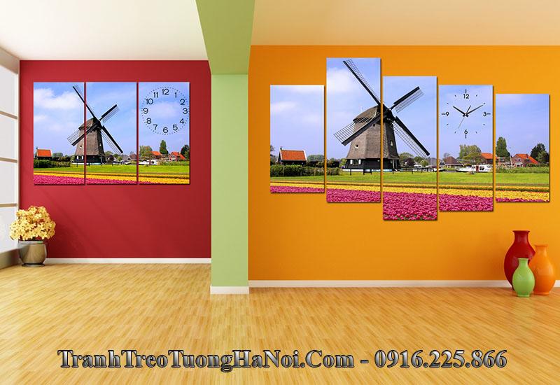 Tranh treo tường phòng khách phong cảnh đồng hoa