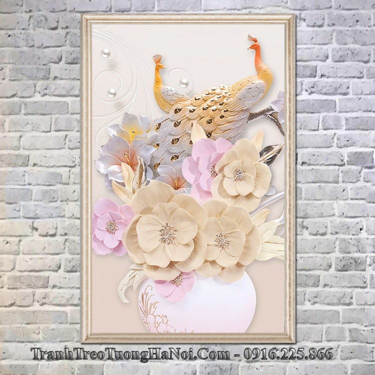 Tranh kho dung dep binh hoa chim cong 3D