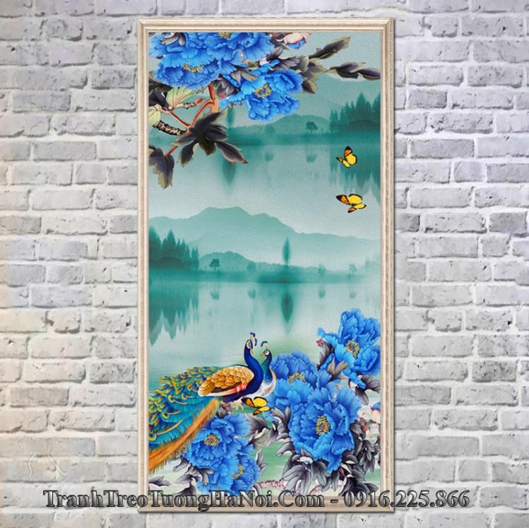 Tranh chim cong mau don xanh treo phong ngu